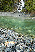 Fantail Falls and Haast River, South Westland, West Coast, World Heritage Area, New Zealand
