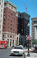 Boston:  Milk & India Streets--Board of Trade Building (1901) to left; Custom House to right.  Photo '88.