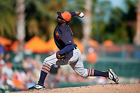 Detroit Tigers relief pitcher Victor Alcantara (58) delivers a pitch during a Grapefruit League Spring Training game against the Baltimore Orioles on March 3, 2019 at Ed Smith Stadium in Sarasota, Florida.  Baltimore defeated Detroit 7-5.  (Mike Janes/Four Seam Images)