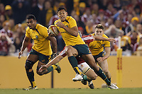 MELBOURNE, 29 JUNE 2013 - Israel FOLAU of the Wallabies carries the ball during the Second Test match between the Australian Wallabies and the British & Irish Lions at Etihad Stadium on 29 June 2013 in Melbourne, Australia. (Photo Sydney Low / sydlow.com)