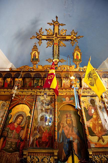 Interior of St Georges  traditional Greek Orthodox church, Chora, Mykonos, Cyclades Islands, Greece.