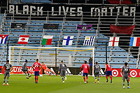 ST PAUL, MN - SEPTEMBER 9: Kevin Molino #7 of Minnesota United FC scores on  a penalty kick during a game between FC Dallas and Minnesota United FC at Allianz Field on September 9, 2020 in St Paul, Minnesota.