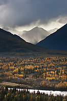 Virga falls over the Alaska Range mountains, Interior, Alaska.