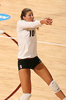 30 November 2007: Alix Klineman during Stanford's 3-0 win over Santa Clara University in the first round of the NCAA Division 1 Women's Volleyball Championships in Maples Pavilion in Stanford, CA.