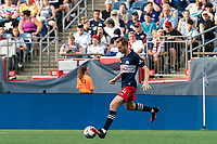 FOXBOROUGH, MA - AUGUST 8: Henry Kessler #4 of New England Revolution passes the ball during a game between Philadelphia Union and New England Revolution at Gillette Stadium on August 8, 2021 in Foxborough, Massachusetts.