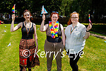 Members of Kingdom Pride enjoying the Pride celebrations in Pearce Park, Tralee on Saturday, l to r: Tara Lynch, Morgan Queeney (Chairperson) and Britney White.