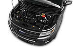 Car stock 2018 Ford Explorer XLT 5 Door SUV engine high angle detail view