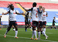 Bolton Wanderers' Nathan Delfouneso celebrates scoring his side's first goal with team-mate Peter Kioso<br /> <br /> Photographer Stephen White/CameraSport<br /> <br /> The EFL Sky Bet League Two - Bolton Wanderers v Oldham Athletic - Saturday 17th October 2020 - University of Bolton Stadium - Bolton<br /> <br /> World Copyright © 2020 CameraSport. All rights reserved. 43 Linden Ave. Countesthorpe. Leicester. England. LE8 5PG - Tel: +44 (0) 116 277 4147 - admin@camerasport.com - www.camerasport.com