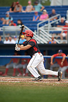 Batavia Muckdogs catcher Michael Hernandez (4) at bat during the first game of a doubleheader against the Williamsport Crosscutters on August 20, 2017 at Dwyer Stadium in Batavia, New York.  Batavia defeated Williamsport 6-5.  (Mike Janes/Four Seam Images)