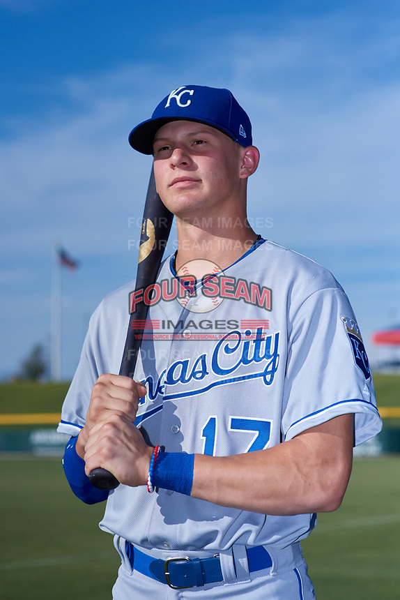 AZL Royals Bobby Witt, Jr. (17) poses for a photo before making his professional debut in an Arizona League game against the AZL Cubs 1 on June 30, 2019 at Sloan Park in Mesa, Arizona. AZL Royals defeated the AZL Cubs 1 9-5. (Zachary Lucy / Four Seam Images)