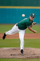 Freshman starting pitcher Trey Miller (27) of the University of South Carolina Upstate Spartans earned his first collegiate win, 13-0, against the Presbyterian College Blue Hose on Tuesday, March 23, 2021, at Cleveland S. Harley Park in Spartanburg, South Carolina. (Tom Priddy/Four Seam Images)