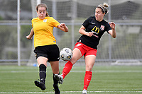 Hope Gilchrist of Capital competes for the ball with Britney-Lee Nicholson of Canterbury  during the ISPS Handa Women's Premiership - Capital Football v Canterbury Utd Pride at Petone Memorial Park, Wellington on Saturday 5 December 2020.<br /> Copyright photo: Masanori Udagawa /  www.photosport.nz