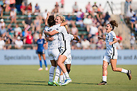 CARY, NC - SEPTEMBER 12: Sophia Smith #9 of the Portland Thorns celebrates her goal with Lindsey Horan #10 during a game between Portland Thorns FC and North Carolina Courage at Sahlen's Stadium at WakeMed Soccer Park on September 12, 2021 in Cary, North Carolina.