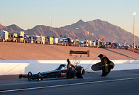 Nov 1, 2019; Las Vegas, NV, USA; NHRA top fuel driver Troy Buff during qualifying for the Dodge Nationals at The Strip at Las Vegas Motor Speedway. Mandatory Credit: Mark J. Rebilas-USA TODAY Sports