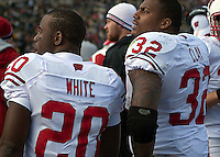 Wisconsin running backs James White and John Clay. The Wisconsin Badgers defeated the Purdue Boilermakers 34-13 at Ross-Ade Stadium, West Lafayette, Indiana on November 6, 2010.