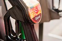 Diesel fuel pump in a supermarket fuel station.Asda.