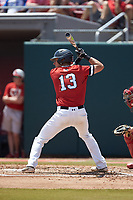 Michael Geaslen (13) of the Northeastern Huskies at bat against the North Carolina State Wolfpack at Doak Field at Dail Park on June 2, 2018 in Raleigh, North Carolina. The Wolfpack defeated the Huskies 9-2. (Brian Westerholt/Four Seam Images)