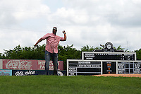Birmingham Barons guest Darryl Strawberry throws out the ceremonial first pitch before the 20th Annual Rickwood Classic Game against the Jacksonville Suns on May 27, 2015 at Rickwood Field in Birmingham, Alabama.  Jacksonville defeated Birmingham by the score of 8-2 at the countries oldest ballpark, Rickwood opened in 1910 and has been most notably the home of the Birmingham Barons of the Southern League and Birmingham Black Barons of the Negro League.  (Mike Janes/Four Seam Images)