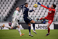 Georgios Kyriakopoulos of US Sassuolo, Cristiano Ronaldo of Juventus FC and Andrea Consigli of US Sassuolo during the Serie A football match between Juventus FC and US Sassuolo Calcio at Allianz stadium in Torino (Italy), January 10th, 2021. Photo Federico Tardito / Insidefoto