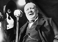 The 1945 General Election: Winston Churchill giving his final address, during the election campaign, at Walthamstow Stadium, East London.