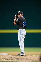 Akron RubberDucks relief pitcher Mitch Brown (26) gets ready to deliver a pitch during a game against the Binghamton Rumble Ponies on May 12, 2017 at NYSEG Stadium in Binghamton, New York.  Akron defeated Binghamton 5-1.  (Mike Janes/Four Seam Images)