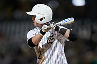 Carson Johnson (2) of the Charlotte 49ers at bat against the Clemson Tigers at BB&T BallPark on March 26, 2019 in Charlotte, North Carolina. The Tigers defeated the 49ers 8-5. (Brian Westerholt/Four Seam Images)