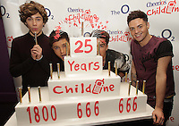 20/11/13<br /> Union J(L-R)   George Shelley,JJ Hamblett Josh Cuthbert and Jaymi Hensley who will be performing Cheerios Childline Concert at the O2 Dublin this evening….<br /> Pic Collins Photos