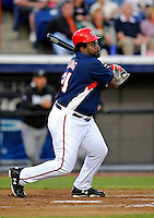 13 March 2008: Washington Nationals' first baseman Dmitri Young in action during a Spring Training game against the Florida Marlins at Space Coast Stadium, in Viera, Florida. The Marlins defeated the Nationals 2-1 in the Grapefruit League matchup...Mandatory Photo Credit: Ed Wolfstein Photo