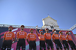 CCC Team at sign on before the start of Stage 8 of the 103rd edition of the Giro d'Italia 2020 running 200km from Giovinazzo to Vieste, Sicily, Italy. 10th October 2020.  <br /> Picture: LaPresse/Marco Alpozzi | Cyclefile<br /> <br /> All photos usage must carry mandatory copyright credit (© Cyclefile | LaPresse/Marco Alpozzi)