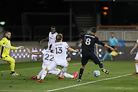 SAN JOSE, CA - OCTOBER 28: Chris Wondolowski #8 of the San Jose Earthquakes is defended by Aaron Herrera #22 of Real Salt Lake and Nick Besler #13 during a game between Real Salt Lake and San Jose Earthquakes at Earthquakes Stadium on October 28, 2020 in San Jose, California.