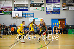 Garveys Tralee Warriors Aaron Calixte in possession as Xabier Arriga of 360 Financial Killorglin slows down his advancement in the basketball super league