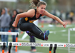 An unidentified Galena hurdler competes in the Big George Invitational track meet at Douglas High School in Minden, Nev., on Saturday, April 25, 2015. <br /> Photo by Cathleen Allison