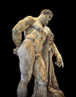 End of 2nd century beginning of 3rd century AD Roman marble sculpture of Hercules at rest copied from the second half of the 4th century BC Hellanistic Greek original,  inv 6001, Farnese Collection, Museum of Archaeology, Italy, black background