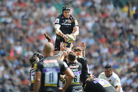 Jonny Hill of Exeter Chiefs wins the lineout ball during the Aviva Premiership Rugby Final between Exeter Chiefs and Saracens at Twickenham Stadium on Saturday 26th May 2018 (Photo by Rob Munro/Stewart Communications)