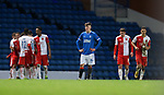 18.3.2021 Rangers v Slavia Prague: Dejection for Rangers and Nathan Patterson as Slavia score a second goal