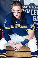 Michigan Wolverines shortstop Jack Blomgren (2) before Game 3 of the NCAA College World Series Finals on June 26, 2019 at TD Ameritrade Park in Omaha, Nebraska. Vanderbilt defeated Michigan 8-2 to win the National Championship. (Andrew Woolley/Four Seam Images)