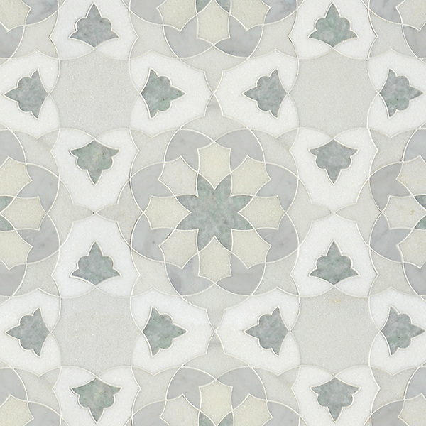 Alcala, a natural stone waterjet mosaic shown in Heavenly Cream honed, Ming Green, Carrara, and Thassos polished marbles, is part of the Miraflores collection by Paul Schatz for New Ravenna.