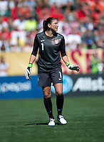 Hope Solo (1) of the USWNT yells to her teammates during a friendly match at Sahlen's Stadium in Rochester, NY.  The USWNT defeated Costa Rica, 8-0.