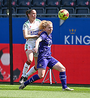 Lenie Onzia (8) of OHL pictured in a duel with Charlotte Tison (20) of Anderlecht during a female soccer game between Oud Heverlee Leuven and RSC Anderlecht on the 2nd matchday of play off 1 in the 2020 - 2021 season of Belgian Womens Super League , saturday 17 th of April 2021  in Heverlee , Belgium . PHOTO SPORTPIX.BE | SPP | DAVID CATRY