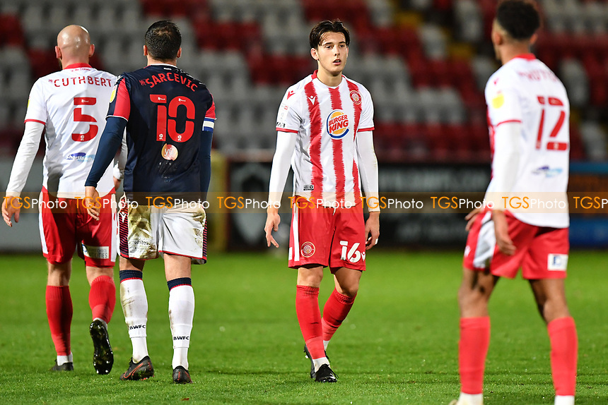 Dejected Arthur Iontton of Stevenage FC at the final whistle during Stevenage vs Bolton Wanderers, Sky Bet EFL League 2 Football at the Lamex Stadium on 21st November 2020