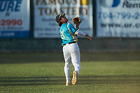 Mooresville Spinners shortstop Anthony Hennings (3) (Elon) tracks a fly ball during the game against the Lake Norman Copperheads at Moor Park on July 6, 2020 in Mooresville, NC.  The Spinners defeated the Copperheads 3-2. (Brian Westerholt/Four Seam Images)