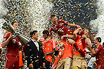 GUANGZHOU, GUANGDONG - JULY 26:  Players of Bayern Munich celebrates with the trophy after winning a friendly match against VfL Wolfsburg as part of the Audi Football Summit 2012 on July 26, 2012 at the Guangdong Olympic Sports Center in Guangzhou, China. Photo by Victor Fraile / The Power of Sport Images
