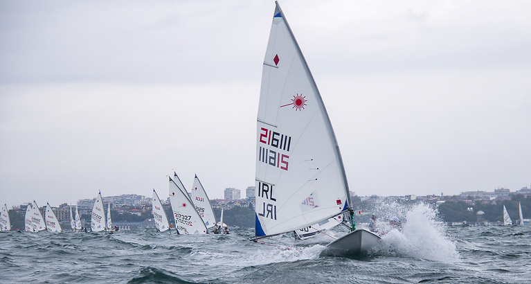 Powering to a race win - Howth youth Eve McMahon takes her first ever race win at a Laser European Championships in Bulgaria today