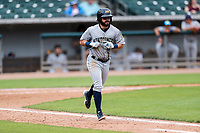 Montgomery Biscuits second baseman Jake Palomaki (3) jogs to first base during the game against the Tennessee Smokies on May 9, 2021, at Smokies Stadium in Kodak, Tennessee. (Danny Parker/Four Seam Images)