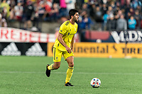 FOXBOROUGH, MA - AUGUST 4: Eric Miller #15 of Nashville SC looks to pass during a game between Nashville SC and New England Revolution at Gillette Stadium on August 4, 2021 in Foxborough, Massachusetts.