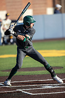 Michigan State outfielder Joe Stewart (5) at bat against the Michigan Wolverines on March 21, 2021 in NCAA baseball action at Ray Fisher Stadium in Ann Arbor, Michigan. Michigan scored 8 runs in the bottom of the ninth inning to defeat the Spartans 8-7. (Andrew Woolley/Four Seam Images)