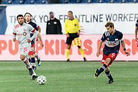 FOXBOROUGH, MA - OCTOBER 7: Scott Caldwell #6 of New England Revolution passes the ball during a game between Toronto FC and New England Revolution at Gillette Stadium on October 7, 2020 in Foxborough, Massachusetts.