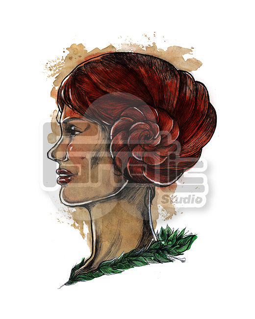 Illustration of woman with hair in spiral horned shape representing Aries zodiac sign