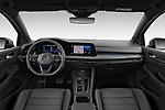 Stock photo of straight dashboard view of 2021 Volkswagen Golf R 5 Door Hatchback Dashboard