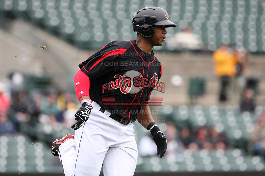 Left fielder Adam Walker (30) of the Rochester Red Wings rounds first base after hitting a solo homerun in the bottom of the 5th inning against the Scranton Wilkes-Barre Railriders on May 1, 2016 at Frontier Field in Rochester, New York. Red Wings won 1-0.  (Christopher Cecere/Four Seam Images)